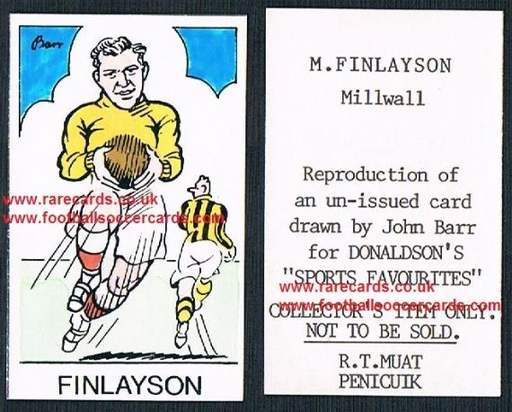1968 Barr Muat Donaldson unissued promo card 1950 Malcolm Finlayson Millwall Wolves